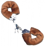 Наручники,Metal Handcuff with Plush light brown
